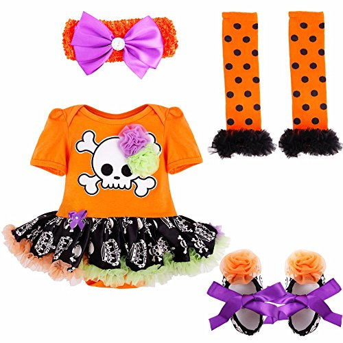 Baby Mädchen Bekleidungsset Outfits Kürbis Halloween Kostüm Kurzarm Strampler Overall mit Tütü Röckchen + Stirnband + Beinwärmer + Schuhe (3-6 Monate, Orange + Totenkopf) (Halloween-kostüme 3 6 Monate)