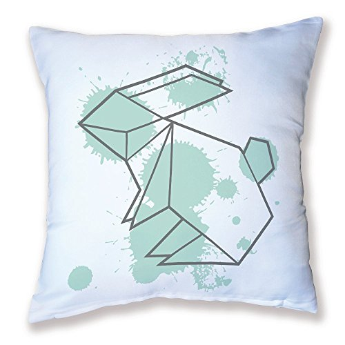Coussin Décoration Origami Lapin Mint kawaii - Fabriqué en France - Licence officelle Chamalow Shop