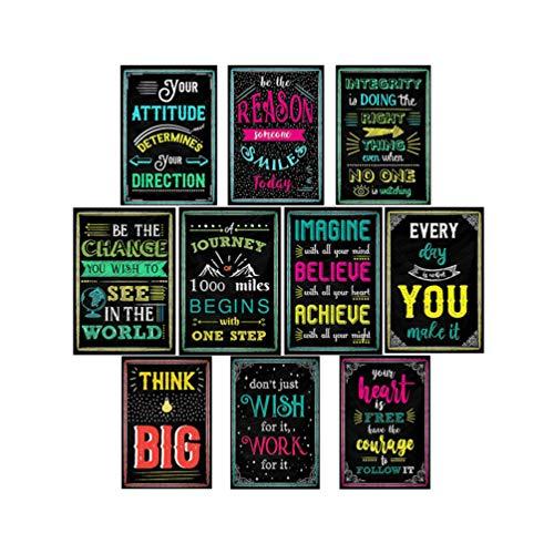 SUPVOX 10 Piezas Decoraciones Inspiradoras póster Letra Inglesa Carteles de Pared motivacionales Citas Carteles murales para la Oficina del Aula