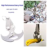 Multifunctional Gravity Hook, Survival Folding Grappling Hook Climbing Claw, Stainless Steel Gravity Carabiner for Outdoor Life