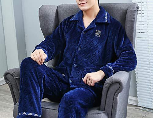 JZX Coral Velvet Pajamas, Men's Winter Thickening Plus Velvet Warm Suit,Bleu,L
