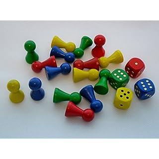 G&S Spielset aus Holz mit 16 Spielfiguren 27 mm x 15 mm und 4 Würfel