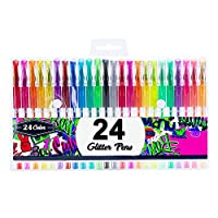 Reaeonat Glitter Gel Pens, 1.0mm Rollerball Tip Color Glitter Gel Pen for Adult Coloring Bullet Journal, Pack of 24 Assorted Colors