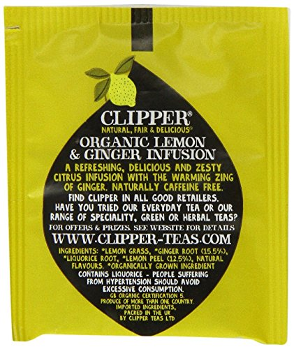 Clipper organic lemon and ginger tea (soil association) (infusions) (250 bags) (a fruity, spicy tea with aromas of ginger, lemon) (brews in 2-5 minutes)