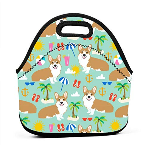 Beach Corgi Cute Summer Palm Tree Flip Flops Dogs Cute Palms Lunch Bag Insulated Thermal Lunch Tote Outdoor Travel Picnic Carry Case Lunchbox Handbags with Zipper