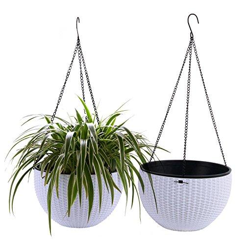 ComSaf 25cm Selbstbewässerung Plastik Blumenampeln Rund, Hängepflanztöpfe mit Ratten-Muster für Innen- und Außenbereiche, Weiß 2er-Set