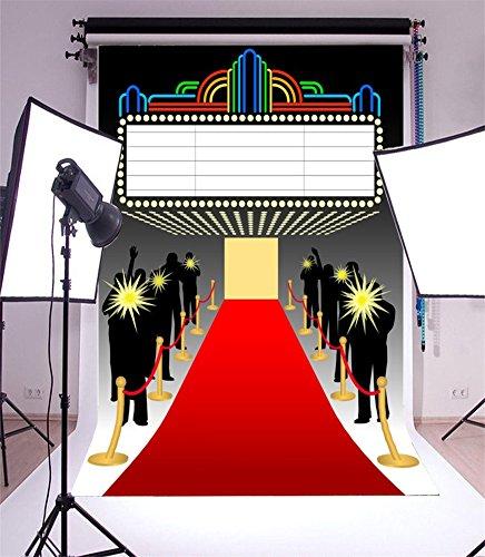 YongFoto 1x1,5m Vinyl Foto Hintergrund Hollywood Bühne beleuchtet roten Teppich Auszug Glitter Pailletten Innere Fotografie Hintergrund Fotoshooting Portraitfotos Party Kinder Fotostudio Requisiten