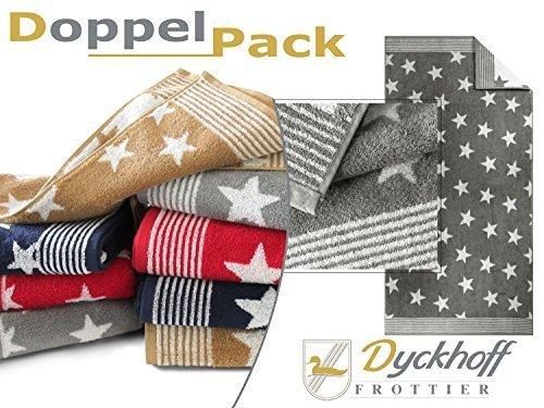 Doppelpack zum Sparpreis - Frottiertücher aus dem Hause Dyckhoff - Handtuch oder Duschtuch - elegantes Streifendesign kombiniert mit Sternen - geprüfte Qualität, Duschtuch [70 x 140 cm], grau