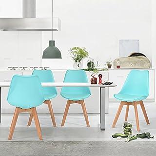 Aingoo Esszimmerstühle 4er Set Gepolsterter Stuhl mit dicken Kissen Holzfüßen Küchenstuhl Wohnzimmerstühle in Grün