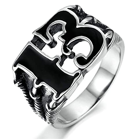 Gnzoe Men Stainless Steel Ring, Retro Silver Black Dragon Claw Number 13 Lucky Rings For Women Men Size X