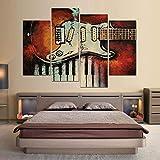 TBDZPS 4 Panneaux Peinture Mur Art Imprime Vintage Classique Guitare De Mode Toile Décoration De La Maison Modulaire Photos pour Salon