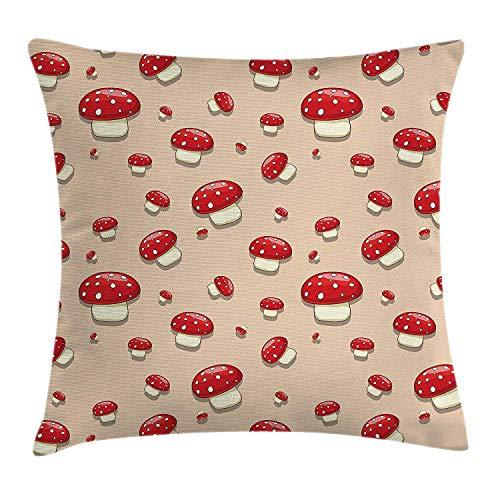 artyly Pillowcase Setas de Dibujos Animados con Lunares de Puntos en un Fondo Rosa Lámina Funda de cojín Decorativa Almohada Cuadrada 45x45 cm