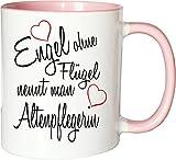 Mister Merchandise Becher Tasse Engel Ohne Flügel Nennt Man Altenpflegerin Kaffee Kaffeetasse liebevoll Bedruckt Beruf Job Geschenk Weiß-Rosa