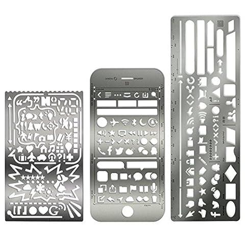 Metallvorlagen/-schablonen, Web UI UX, von Touch Life Set of 3