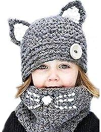 d7f0b86bb7726 Sombrero y Bufanda de Niños Niñas Invierno Caliente Lindo Gato Sombrero de  Orejas Capilla de Punto