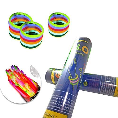 ysmklo Neon Knicklichter Set Armbänder Multi Colored Light Stick Cyalume Groß mit Connectors Leuchtend Leuchtstäbe Stab Partydekoration Hochzeit Angeln Geburtstag Party (100 pcs) Stimmungslichter