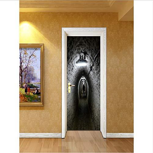 Preisvergleich Produktbild YS753 Air Raid Shelter Doors Scary Horrible Halloween Decor Room Door Bath Decal Removable Door Sticker Ground Poster Vinyl Art 77X200Cm