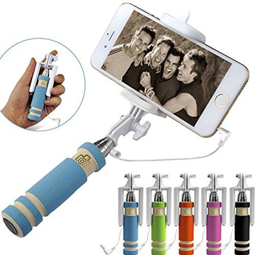 MESE London Selfie Stick (Senza Batterie) In Alluminio Con Vano Per Il Telefono Regolabile, Grip E Scatto Wireless Integrato / Bottone (Blu)