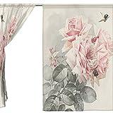 Clothes Old Navy Best Deals - jstel 2pcs Voile cortina de ventana, Vintage Shabby Chic rosa rosas flores, de tul pura cortina Drape cama 55x 78(dos paneles Set, poliéster, azul, 55x84x2(in)
