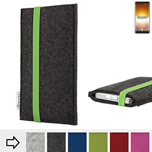 flat.design Handyhülle Coimbra mit Gummiband-Verschluss für Energizer P600S - Schutz Case Etui Filz Made in Germany in anthrazit grün - passgenaue Handytasche für Energizer P600S