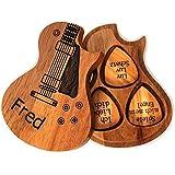 Picks/médiators de guitare en bois personnalisé avec étui à installer sur la guitare.