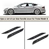 Topfit Autotür Griff Abdeckung Trims Kohlefaser dekorative Griff Schutz Aufkleber mit 4 Stück einen Satz für Model S