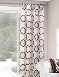 140x280 cm creme braun Vorhang Vorhänge Fensterdekoration Gardine Transparent Wera