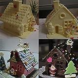 Lypulight 3d DIY Forma de Casa de Navidad de Silicona Molde para Tartas Fondant Molde Chocolate Jelly Candy Molde de Horno para DIY Cake Bake Ware Molde de Postre