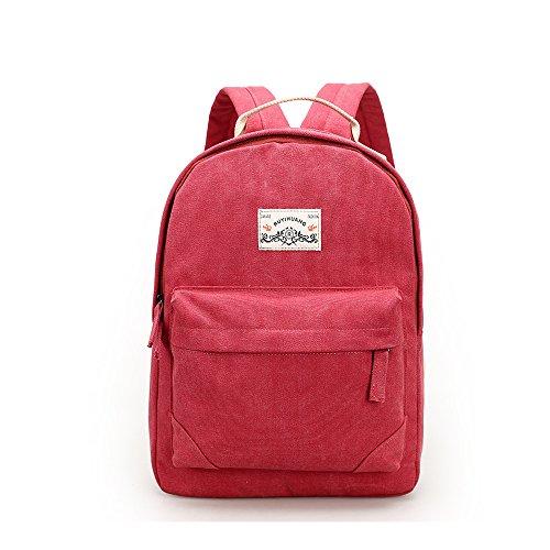 Evay Leisure Series Vintage Style Canvas Rucksack Baumwollstoff Beiläufige Schulrucksack Outdoor Freizeit Daypacks Casual Backpack für Damen und Herren Rot