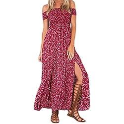 HaiDean Maxi Vestido Mujer Moda Chic Floreadas Vestido Boho Manga Corta Sin Tirantes Cintura Modernas Casual Alta Abiertas Vintage Hippie Vestido Playa Vestidos De Verano (Color : Rojo, Size : M)