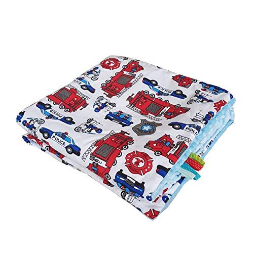 Minky Babydecke Kuscheldecke Krabbeldecke Decke Super weich und flauschig Handarbeit (75x100cm, Polizei Feuerwehr Hellblau)
