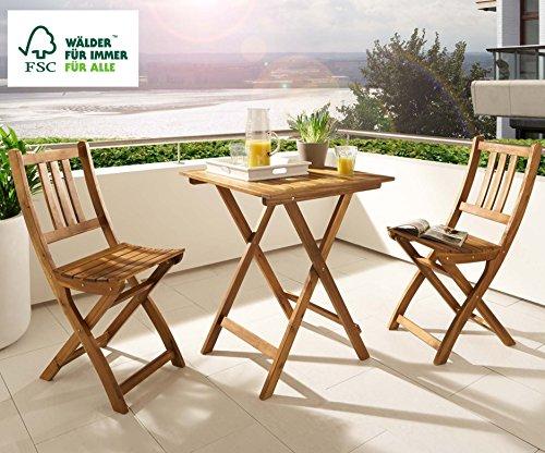 SAM 3-tlg. Balkongruppe Blossom, Akazienholz geölt, Sitzgruppe mit 1 Tisch 60x60cm + 2 Stühle, klappbar, FSC zertifiziert