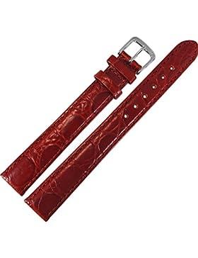 Uhrenarmband 14mm Leder rot XL, extra lang, Prägung, Kroko - inkl. Federstege & Werkzeug - Lederarmband für Uhren...