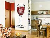 """I-love-Wandtattoo WAS-11892 Cucina tatuaggio a muro""""Bicchiere da vino rosso con scritta"""" bevande sticker adesivo da parete decorazione da pranzo tavolo da pranzo alcol cucina parete bar XXL"""