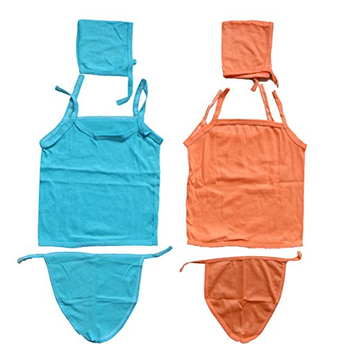 Kim's Pack of 2,Blue & Orange (0-3 Months) Hosiery Cotton Cloth Washable Reusable Diaper/Langot/Nappies Sleeveless Tshirt/Shirt/Tank Top/Jabla/Zabla/Body Cover/Protector/Suite/Unisex/Monsoon/Winter Combo Set for Hospital Use  available at amazon for Rs.196