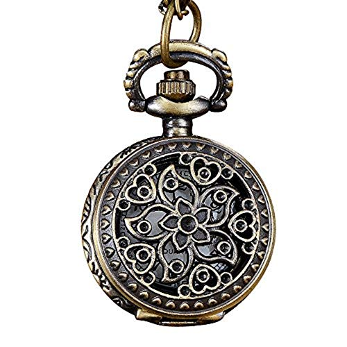 YULINGSTYLE Herrenuhr Damenuhr Vintage Bronze Ton Spider Web Design Kette Anhänger Herren Taschenuhr Geschenk
