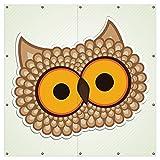 Wallario XXL Garten-Poster Outdoor-Poster - Lustige Comic Eule mit großen Augen in Premiumqualität, für den Außeneinsatz geeignet