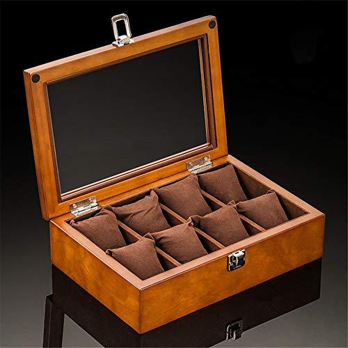 WOSHINIMA Slot Uhrengehäuse Holzuhr Aufbewahrungsbox mit Glas mechanische Uhrenhalter Halter Frauen - Uhrengehäuse Und Sonnenbrille