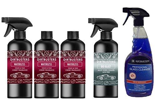 Dirtbusters - Kit de limpieza de coches: 3 productos para lavado y encerado de coches sin agua de 500 ml (1 pulverizador y cabezal), 2 paños de microfibra para limpiar llantas de aleación, limpiacristales (cera polimérica para una limpieza profesional sin marcas)