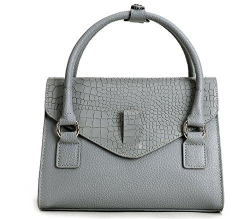Xinmaoyuan Borse donna coccodrillo vacchetta modello di borsetta piccola piazza Borse Tracolla singola tasca,grigio Grigio