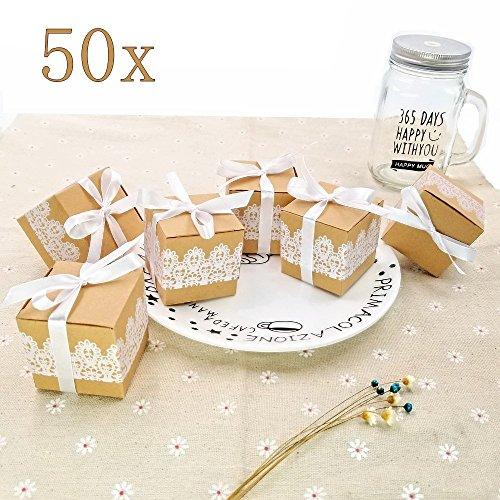 JZK 50 x Senkel Kraft Papier GeschenkboxSchmuck Schachtel Gastgeschenke Süßigkeiten Schokolade Kartonagen Bonboniere Favour Box für Hochzeit Geburtstag Party Taufe