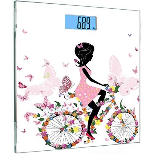 ise Sensoren Digitale Körperwaage Fahrrad-Personenwaage aus gehärtetem Glas, Mädchen in einem rosa Kleid Fahrradfahren mit bunten Blumen und romantischen Schmetterlingen, Mehrfarbig ()
