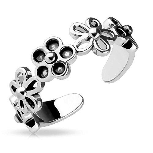 Bungsa® Blumen Zehenring Silber Damen Brass ## VERSTELLBAR ## (Zehring Fussschmuck Fussring Toe-Ring Nail Ring Nagelring biegbar)