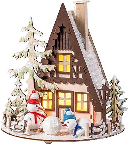 Schneemannhütte mit LED-Beleuchtung LxBxH 20 x 20 x 22 cm NEU Lichterhaus Tischdeko