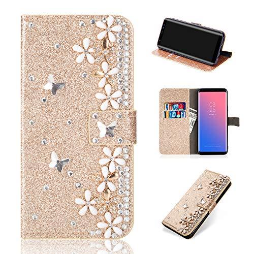 Artfeel Glitzer Leder Brieftasche Hülle für Samsung Galaxy S8, Bling Glänzend Strass Magnetisch Flip Handyhülle mit Kartenfächer,Handarbeit 3D Diamant Blume Stand Hülle-Floral Gold