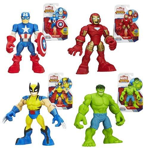 Playskool Marvel Super Hero Adventures Figure Set Wolverine, Hulk, Captain America & Iron Man