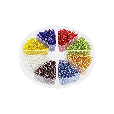 Rocailles Glasperlen Set mit Silbereinzug 2mm, Dose mit 57g Perlen, 8 Farben Silverline