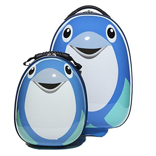 FERGÉ 1x Kinder-Trolley & 1x Rucksack Delphin Kinder-Koffer Hartschale | Handgepäck-Koffer mit Rollen | Kinderkoffer PREMIUM-QUALITÄT