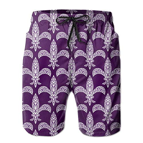 DPASIi Mens Mardi Gras Fleur De LYS Purple Breathable Beach Board Shorts Swim Trunks Quick Dry X-Large Fleur Pocket Bootcut Jean