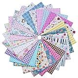 YXJD Baumwollstoff Stoffpaket zum Nähen Stoffzuschnitte DIY Patchwork Quadrate aus Baumwolle mit vielfältigen Muster für Handwerk Kinder Werkarbeit (50pc 20x20cm)